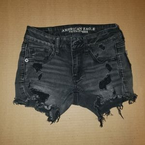 American Eagle Outfitters Black Distressed Shorts
